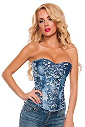 Starline Women's Printed Words Corset, Blue, Small