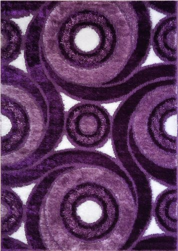 Royal Collection Purple and White Contemporary Swirl Abstract Design Shaggy Shag Area Rug (6069) (3'x5')
