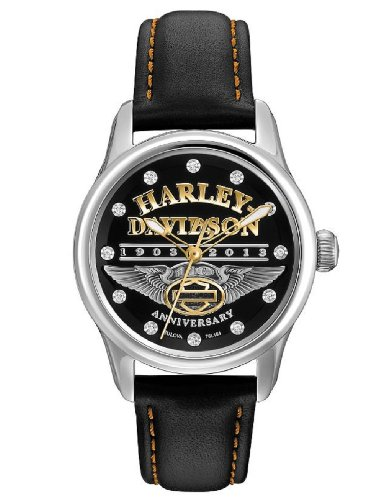 Harley-Davidson® Women's 110th Annivesary Special Edition Bulova Watch. Leather Strap. Swarovski Elements. 110th Logo. Anitquied Silve and Gold. 76L164