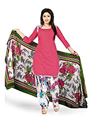 PShopee Pink & White Printed Cotton Unstitched Semi Patiala Suit Material