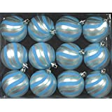 Queens Of Christmas WL-ORN-12PK-SPL-AQ 12 Pack Ball Ornament With Spiral Design, Aqua