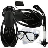 Promate Snorkeling Scuba Dive Dry Snorkel Purge Mask Fins Gear Set