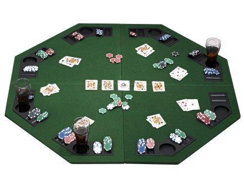 eSecure: Tapis de table Poker (pliables) pour 8 joueurs avec plateau de jetons de poker et des porte-boissons