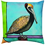 Manual Woodworkers and Weavers Climaweave Indoor/Outdoor Throw Pillow Coastal Pelican 20 by 20-Inch