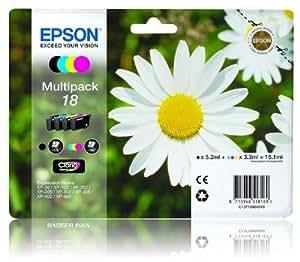 4 Cartouche d'encre pour Imprimante Epson Expression Home XP205 - Cyan / Jaune / Magenta / Noir- Avec Puce