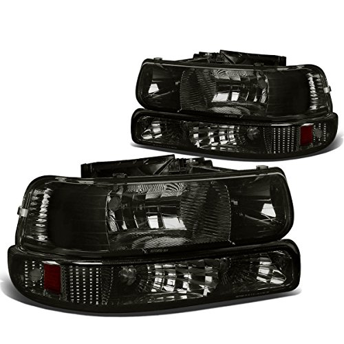 Chevy Silverado/Tahoe Replacement Headlight/Bumper 4-PC Lamp Set (Smoke Lens) - GMT800 (Headlights 99 Chevy compare prices)