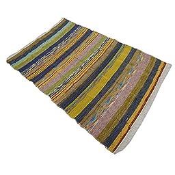 Hand Woven Indian Carpet Handmade Chindi Rugs Dari Mat Cotton Rug Floor Runner 70X45 Inches