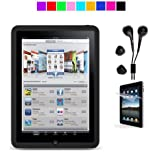 Apple iPad Silicone Skin Case + iPad Black Earphones + Anti-Glare Screen Protector (Black)