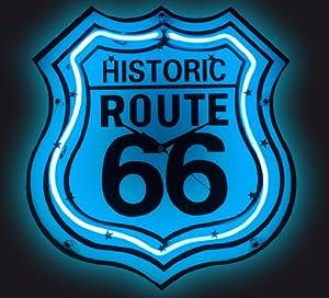 Horloge déco néon Route 66