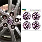 Leopard Animal Print Pink Wheel Center Cap 3D Domed Stickers Badges - Set of 4