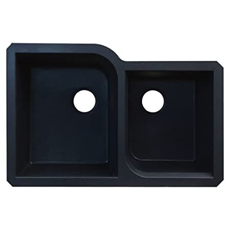 Transolid RUDO3120-09 Radius 20.75-in W x 31.75-in L Granite Double Offset Undermount Kitchen Sink, Black