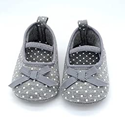 MOSUNX® Baby Boys girls Infant Striped Sneakers Soft Sole Anti-Slip Slip On Cloth Shoes 0-12 Month (13cm, Gray)