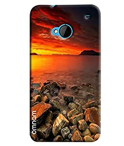 Omnam Sea Side With Sun Rise Effect Beautiful Printed Designer Back Cover Case For HTC One M7