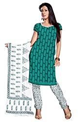 DARPAN TEXTILES Ethnicwear Women's Dress Material GREEN Free Size