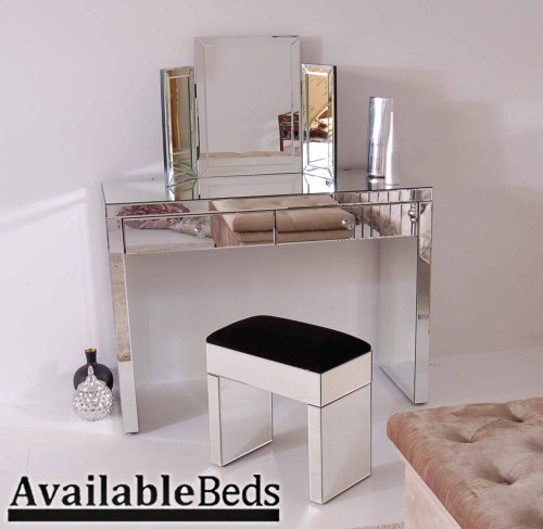Venetian Mirrored Dressing Table /Console & Triple folding dressing table mirror & Mirrored STOOL