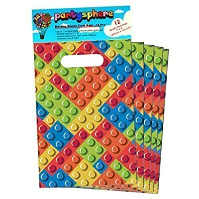 12 Building Blocks Party Favor Treat Goodie Bags Every Kid Will Love! Perfect For A Lego Theme Birthday Party by Partysphere