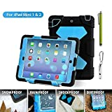 Aceguarder global design new products iPad mini 1&2&3 case snowproof waterproof dirtproof shockproof cover case with stand Super protection for kids Outdoor adventure sports tourism Gifts Outdoor Carabiner + whistle + handwritten touch pen (ACEGUARDER brand)(Black/Blue)