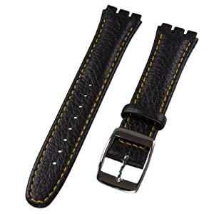 Leather Watch Band, for Swatch Watch, Black & Orange, 17mm