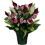 Pink Burgundy Roses with Calla Lilies Weighted Potted Silk Arrangement by Sympathy Silks® (PT1161) Sale
