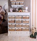Palazzo Chest of Wicker Drawers French Country House Style Antique Style White, width 34cm