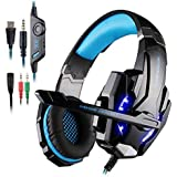 Gaming Headset for PlayStation 4 PS4 Tablet PC iPhone 6/6s/6 plus/5s/5c/5 Mobilephones, 3.5mm Headphone with Microphone LED Light By AFUNTA - Black + Blue