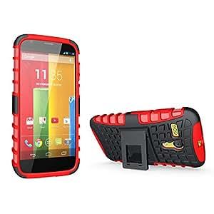 DMG Premium Rubberized Firm Grip Heavy Duty Kickstand Case for Motorola Moto G (Red)
