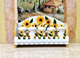 KITCHEN 5PC SPICE RACK MOUNTED WALL SUNFLOWER DECOR
