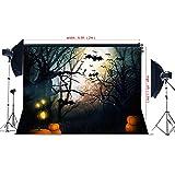 6.5(w)x5(h)ft Halloween Theme night moonlight Photography Photogrand pumpkin bat terrorist obscurity backdrop for children Photo Studio YY00487