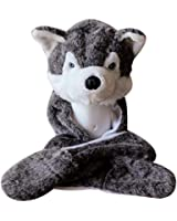 Husky Plush Animal Hat / Scarf / Mittens - Grey Husky