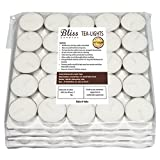 Bliss Tea-Light Candles, 12-100 (White, 3.7 cm x 1.5 cm)