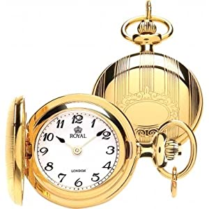 Royal London Ladies Full Hunter Gold Plated Arabic Numeral Pendant Necklace Watch
