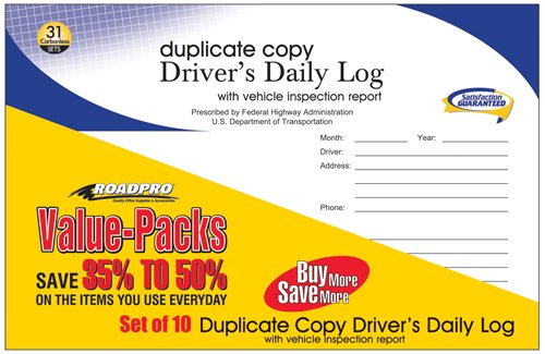 RoadPro RPDLBVP-10 Driver's Daily Log Book with 31 Duplicate Set (Carbon) - 10 Piece
