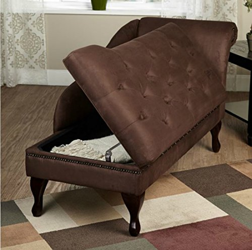 Modern storage chaise lounge chair this tufted for Brown microfiber chaise lounge