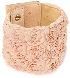 "Streets Ahead 2 1/4"" Tonal Ivory Embroidered Satin Floral Rosette Cuff Bracelet"