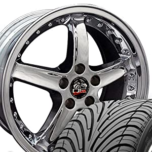 Cobra R Deep Dish Style Wheels and Tires with Rivets Fits Mustang (R) - Chrome 18x9 Set of 4