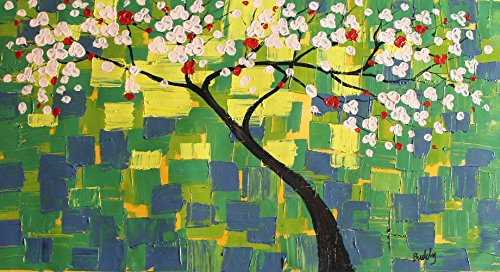 Modern Oil Painting Palette Knife Magnolia Trees Flowers In Spring Wall Decor Large Original Artwork Signed