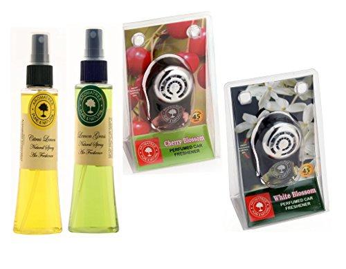 Aromatree Air Fresheners (citrus Lemon 75 Ml, Jasmine Absolute 75 Ml, Cherry Blossom 10 Ml, White Blossom 10 Ml) Pack Of 4 Image