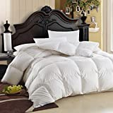 LUXURIOUS King / Cal King Size Siberian GOOSE DOWN Comforter, 600 Thread Count 100% Egyptian Cotton Cover, Solid White Color, 750 Fill Power, 70 Oz Fill Weight, All Season Down Comforter