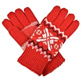 Isotoner Womens Knit Snowflake Pattern Gloves
