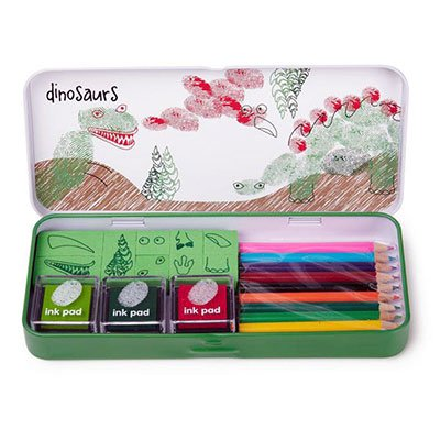 finger-printing-dinosaurs-ink-pad-pencils-stamps-gift-set