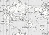 World Atlas Map on Grey Cotton Curtain Fabric 140cm x 1 metre