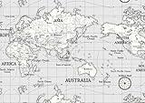 World Atlas Map on Grey Cotton Curtain Fabric 140cm x 1 metre