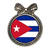 Chicforest Silver Plated Cuba flag Round With Bowknot Pin Brooch 38*48mm Diameter