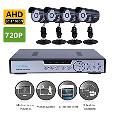 His Vision 8CH Hybrid 1080N AHD DVR Video Surveillance System w/ 4x AHD 1280x720P 36 Leds 150ft Night Vision Bullet Camera(P2P QR Scan,Motion Detection Alarm,Phone Remote Access HDMI Output)-NO HDD