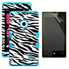 MINITURTLE, Premium Sleek Dual Layer 2 in 1 Hybrid Hard Protective TUFF Phone Case Cover and Clear Screen Protetor Film for No Annual Contract Prepaid Windows Smartphone 8 Nokia Lumia 521 /T Mobile /Metro PCS (Zebra Skin / Tropical Teal)
