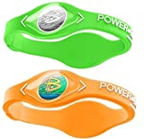 Power Balance Silicone Sports Wristbands-Lime-PB-Neon-Orange-S-Pack-of-2