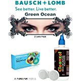 Natural Look Quarterly GreenOcean Color Zeropower Colorered Contact Lens With Free Cleanzol Lens Care Kit (2 Lens...