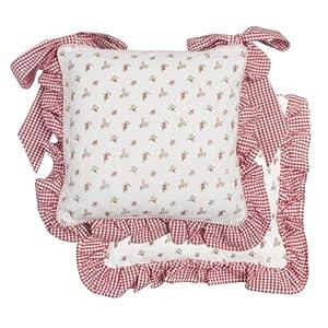 coussin galette de chaise roses volant vichy rouge cuisine maison. Black Bedroom Furniture Sets. Home Design Ideas