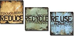 Artistic Home Gallery 1212651S Reduce, Recycle, & Re-Use by Wani Pasion Premium Stretched Canvas Wall Art Set - 3 Piece