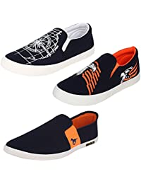 Super Men Canvas Blue Combo Pack Of 3 Casual Shoes,Loafers & Moccasins